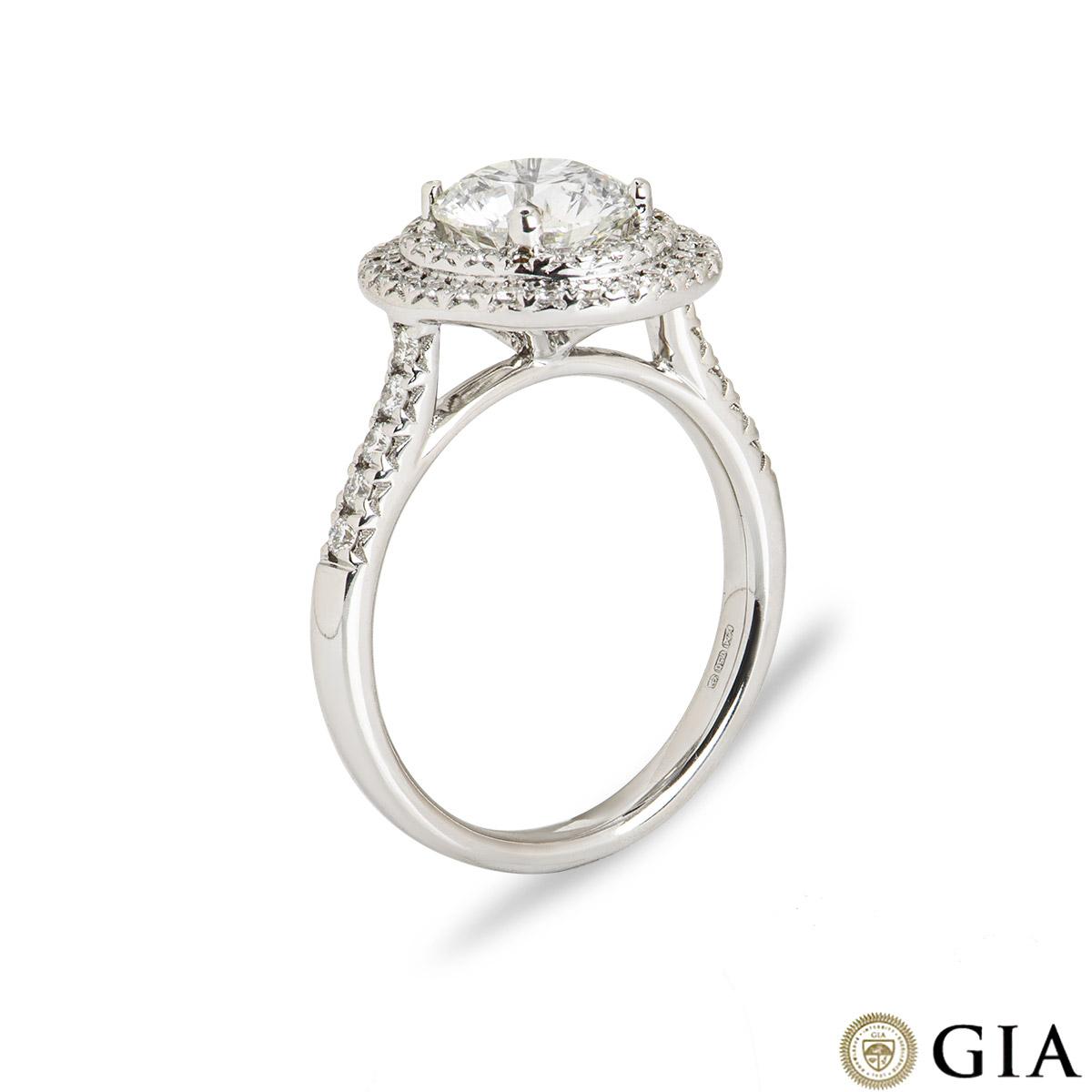 18k White Gold Round Brilliant Cut Diamond Ring 1.58ct G/VS